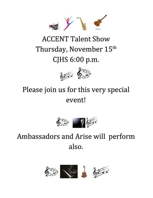 accent talent show on Thursday, November 15