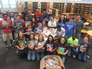 CJHS Honor Society created over 100 art kits to deliver to the children at Blair E. Batson.