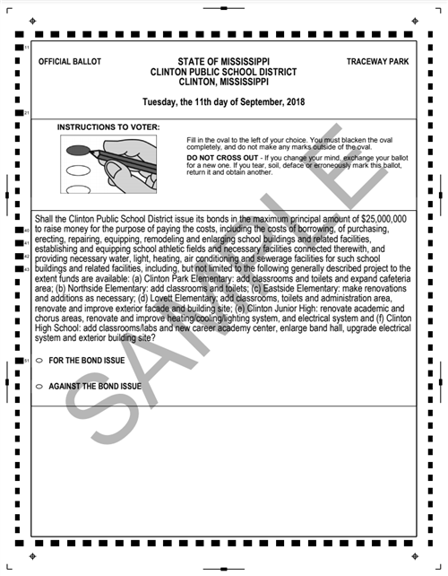 Sample Ballot for bond issue