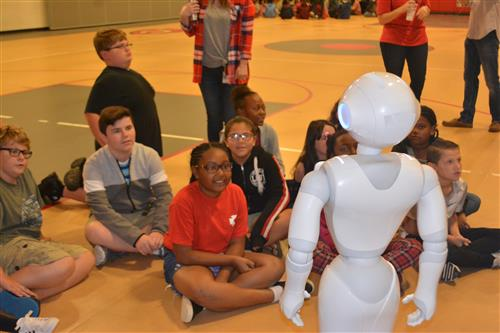 Pepper the robot interacts with Eastside students