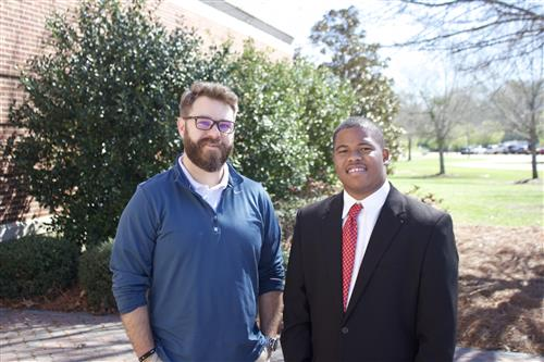 Joshua Wright (right) and CHS teacher and media club sponsor Robert Chapman