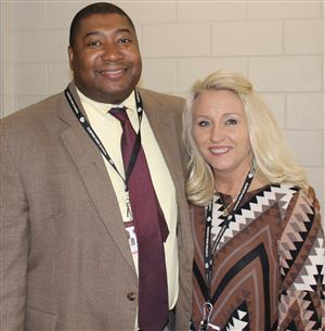 Heather McKinion, right, and Assistant Superintendent Anthony Goins