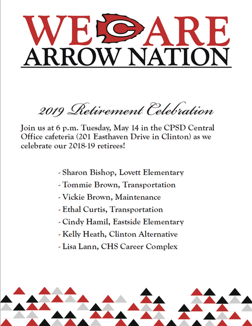 The Retirement Celebration will be held Tuesday, May 14