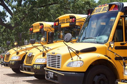 CPSD school buses, parked